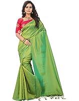 e-VASTRAM Silk Tassel Saree (Sanag_Green_Free Size)