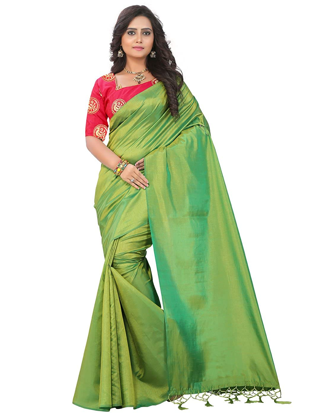 21f23b4342708 e-VASTRAM Artificial Silk Tassel Saree (Sanag Green Free Size)  Amazon.in   Clothing   Accessories