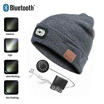 SSCJ Bluetooth Beanie Hat con LED linternas USB Carga de música Unisex Cap Running Ski Camping Bike/teléfono de Respuesta/Escuchar música,Gray: Amazon.es: ...
