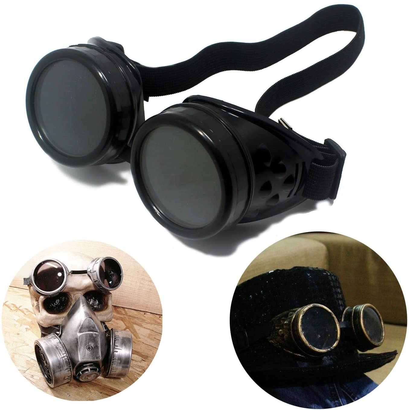 T&B Vintage Steampunk Goggles Glasses New Sell Cyber Punk Black