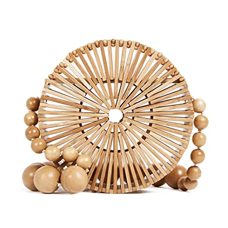 189036f622d7 SHZONS Bamboo Handbag, Handmade Woven Tote Bamboo Purse Straw Beach Bag  Half Moon Bag for Women,Dual-Purpose Braided Woven Travel Sling Bag  Portable ...