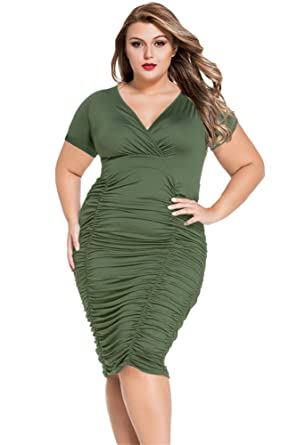 Gloriasarah Womens Wrap Curvy Ruched Plus Size Bodycon Dress At