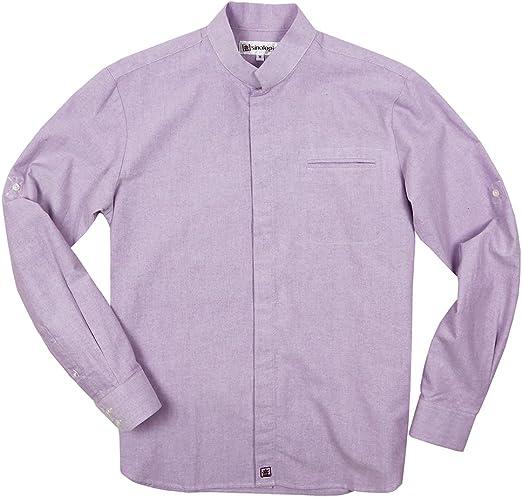 Sinologie - Camisa de vestir - cuello mao - para hombre malva ...