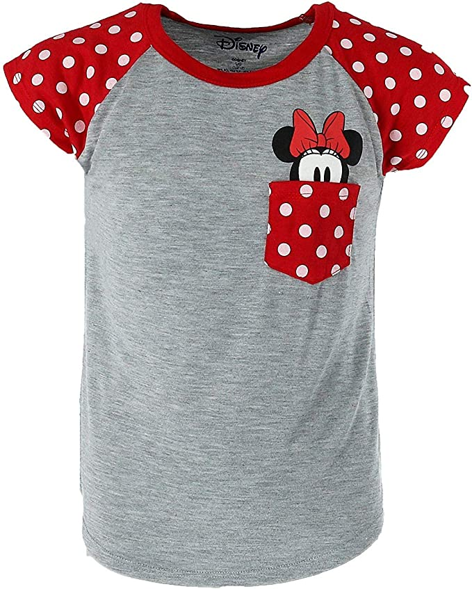 Disney Youth Girls Minnie Peeking Pocket Tee Grey Medium