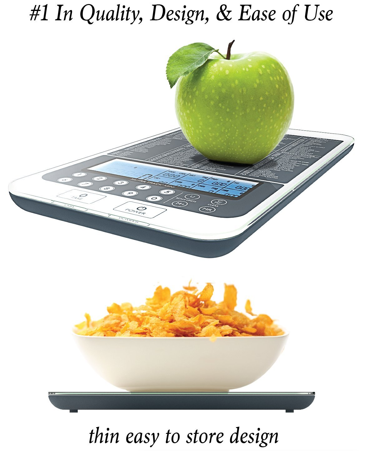 Mackie, NutraTrack Mini Digital Scale, the most advanced food scale on Amazon. Our food scale includes a calorie calculator and macros calculator. We are the best food scale on the market.