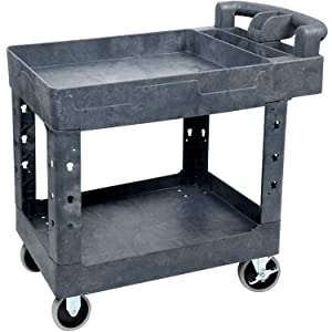 Service Cart 32 x 18 Inch Shelves Utility Cart with Wheels, High Capacity Support 500lbs - Works on All Surfaces Easy to Move - Great for Warehouse, Garage, Cleaning and More by Pipishell