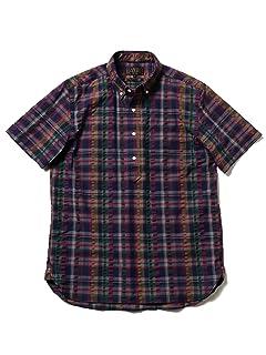 Short Sleeve Coolmax Seersucker Plaid Buttondown Shirt 11-01-0875-139: Purple / Navy