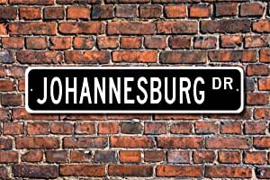 Amazon.com: Fabri.YWL Metal Stree Sign Johannesburg Sign