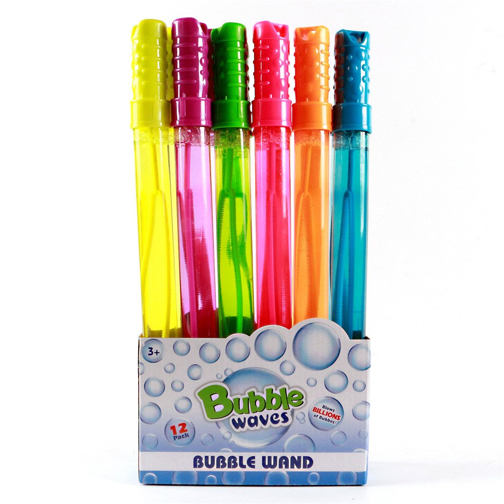 Big Bubble Wand 12 Pack - 14'' Blow Bubbles Solution Novelty Summer Toy - Activity Party Favor Assorted Colors Set