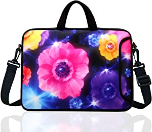 "TAIDY 17 to 17.3-Inch Neoprene Laptop Shoulder Bag Sleeve Case for 17""- 17.3"" MacBook/Ultrabook/HP/Acer/Asus/Lenovo (Colourful Flower)"
