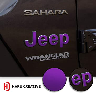 Fender Side Door Emblem Letter Overlay Vinyl Decal Sticker Compatible with and Fits Jeep Wrangler JL 2018 Chrome Red Haru Creative