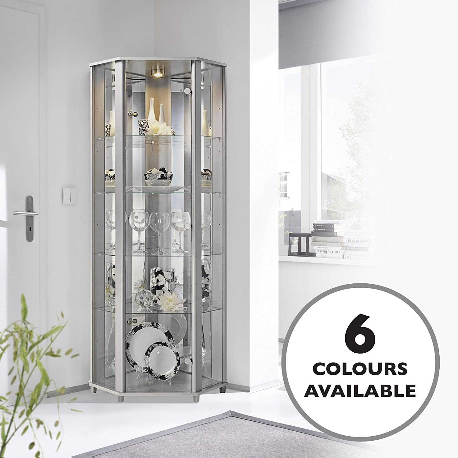 HOME Corner Glass Display Cabinet Silver with Mirror Back, 4 Moveable Glass Shelves & Spotlight Displaycabinetsuk
