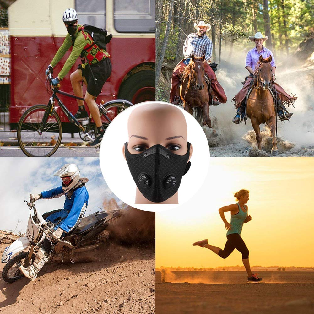 Novemkada Dust Mask - Activated Carbon N99 Earloop Dustproof Masks with Extra Filter Cotton Sheet and Valves for Exhaust Gas, Pollen Allergy, PM2.5, Running, Cycling, Outdoor Activities (Black+Gray) by Novemkada (Image #7)