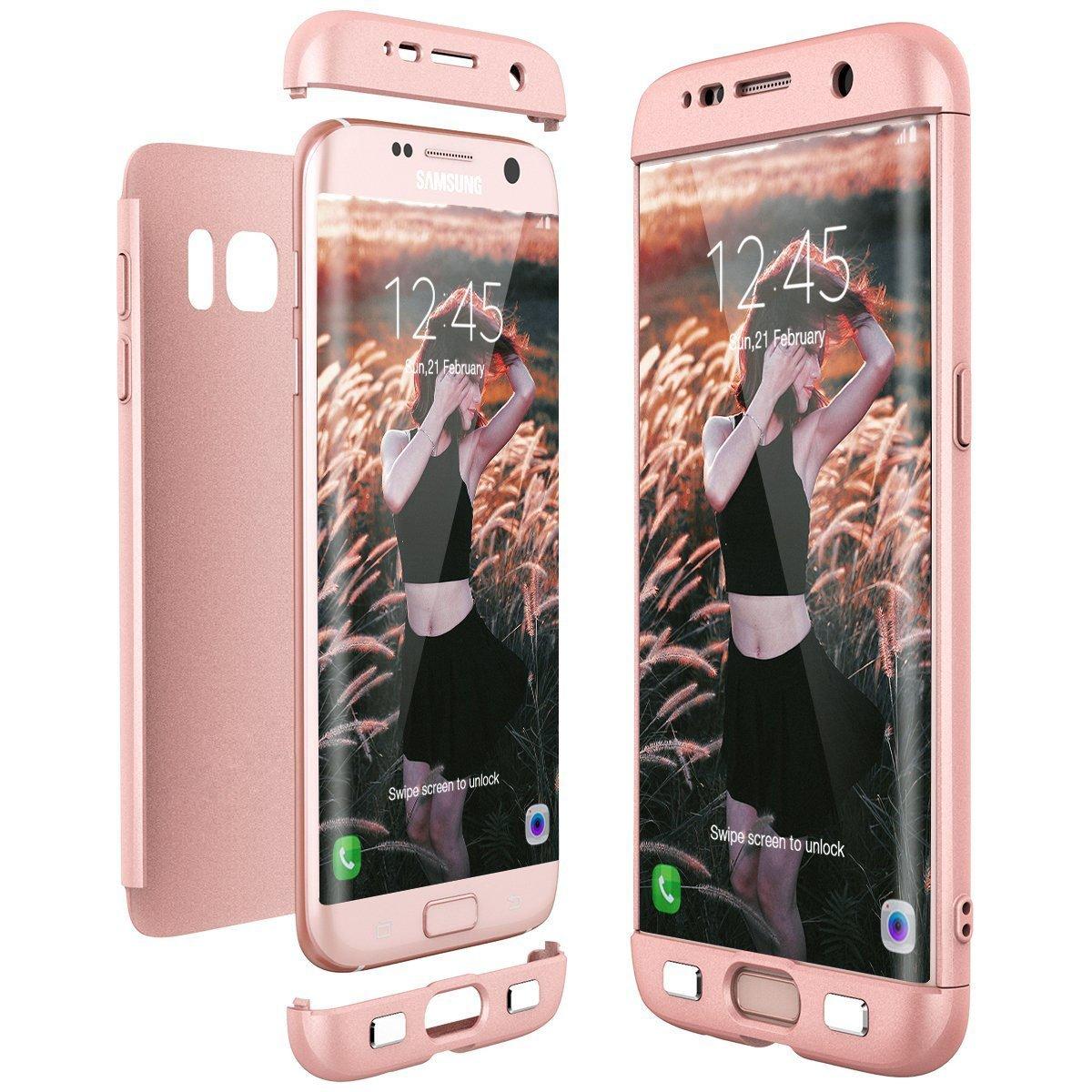 d3ce9df70db Biter Samsung Galaxy s6/s6 Edge Ultra-Delgada de Dura de La PC Cubierta de  360°Caja Protectora Anti-Rasguños Estuche Para Case (Galaxy s6, Rosa/Oro  Rosa): ...