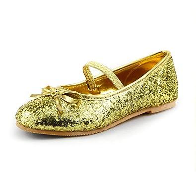 ce56fb391eede dollmaker Wedding Flower Girl's Glitter Sparkly Ballet Flat Shoes w/Elastic  Strap Toddler Size