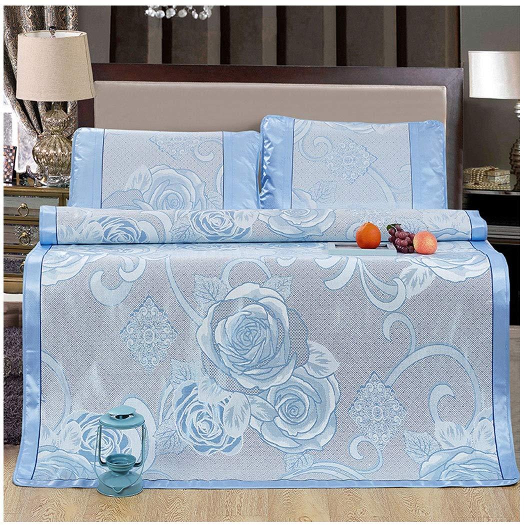 bleu-b 1.8m bed YONGYONG Ice-mat Siège en Soie Glacée Siège en Air Frais en Soie Glacée pour L'été Kit De Tapis Pliable en Trois Parcravates (Couleur   rose-A, Taille   1.5m Bed)