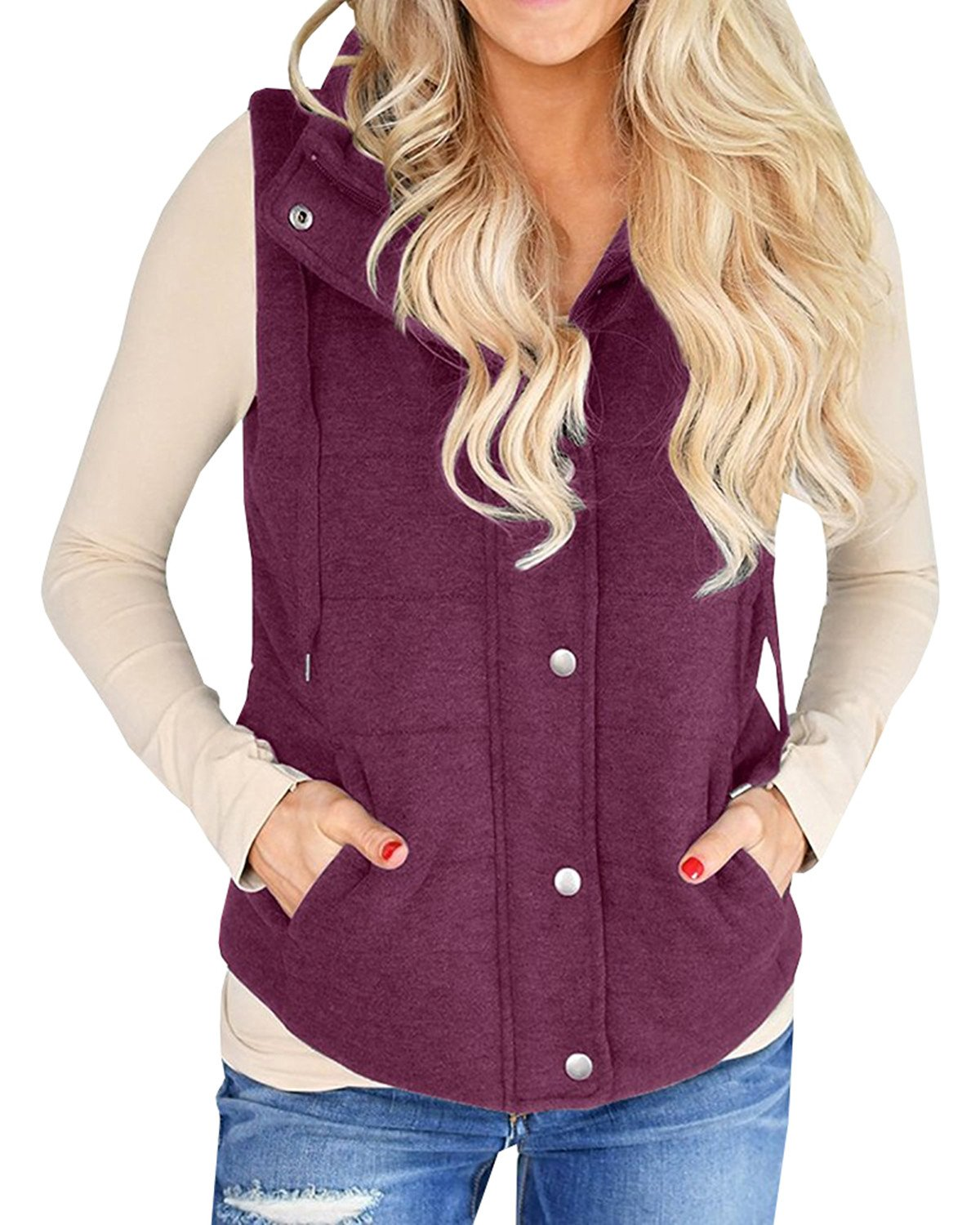 Ofenbuy Womens Vest Lightweight Quilted Drawstring Jacket Casual Button Closure Outerwear by (Small, Wine Red)