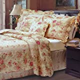 Finely Stitched 5pc Chic Shabby Romantic Rose Bedding Quilt Set Full/Queen - Includes Bed Sheet Straps