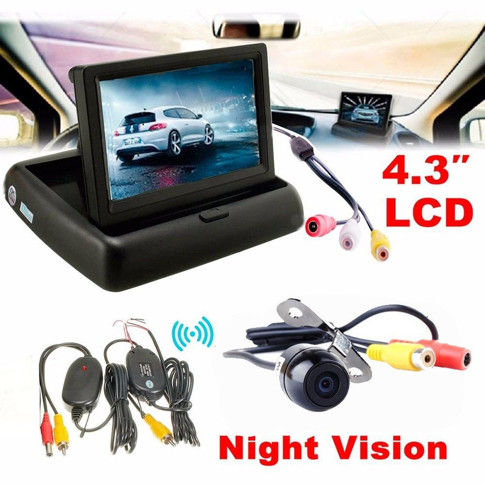 Parking System Kit, Dacawin 4.3 Car Rear View Monitor Wireless Car Backup Camera (Black) by Dacawin (Image #1)