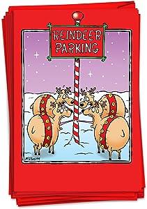 NobleWorks - Box of 12 Christmas Cards Funny - Cartoon Adult Humor, Bulk Set of Greeting Notecards with Envelopes (1 Design, 12 Cards) - Reindeer Parking B5894