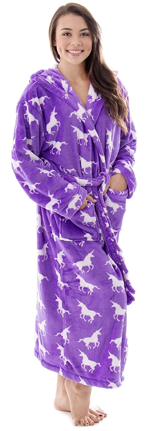Women's Hooded Printed Flannel Fleece Bathrobe w/ Side Pockets-Assorted Patterns