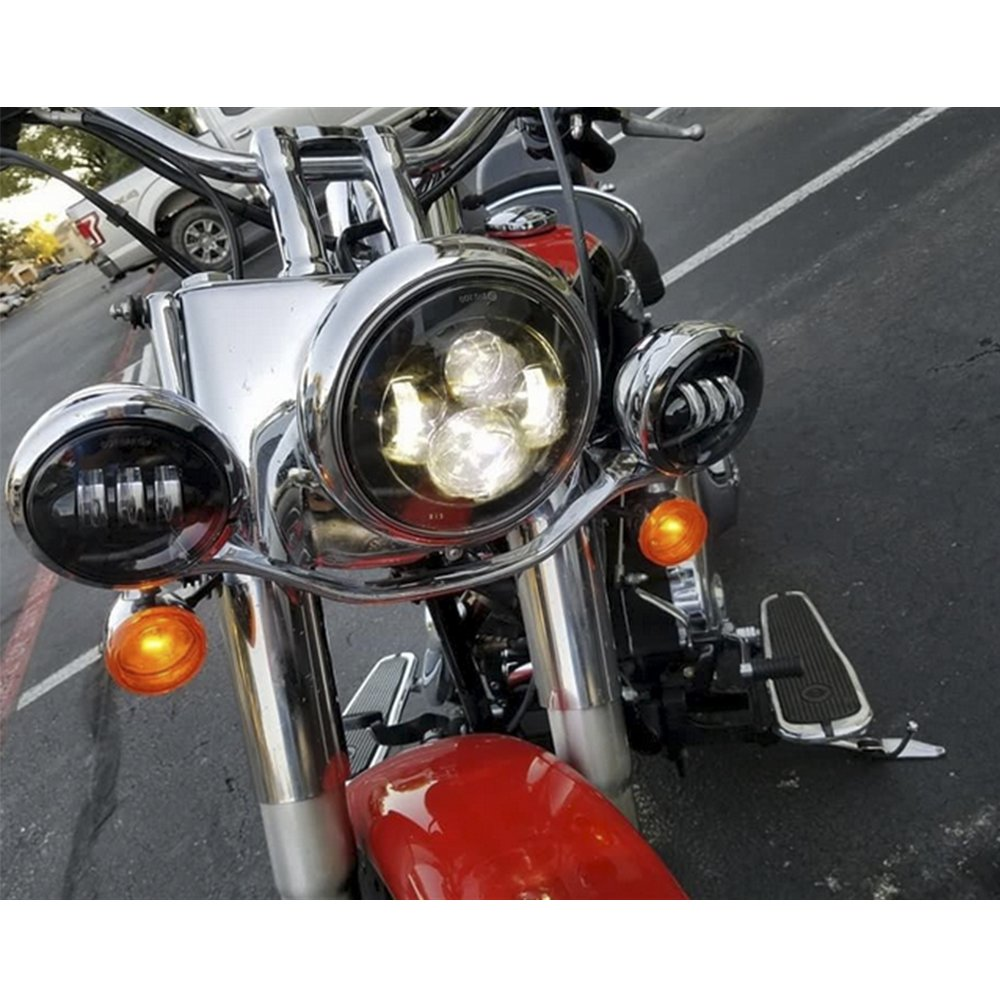 7 inch Daymaker LED Headlight DOT Kit Set Fog Passing Lights for Harley Davidson Ultra Classic Electra Street Glide Road King Heritage Softail Deluxe Slim Fatboy Motorcycle Headlights Headlamps Black by TRUCKMALL (Image #2)