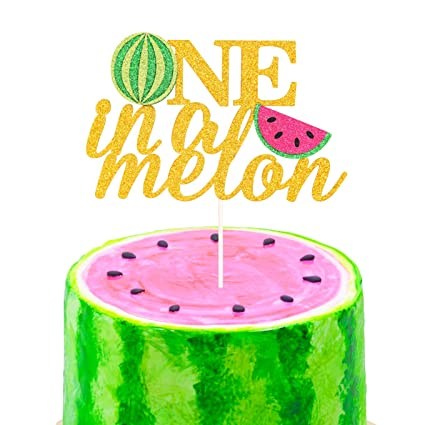 b83cd316e Amazon.com: One in a Melon Cake Topper 1st Birthday Party Decor Watermelon  Themed Kids Party Supplies: Toys & Games