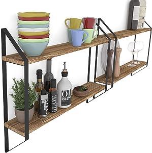 Wallniture Ponza Wood Floating Shelves for Wall, Kitchen Pantry Organization and Storage Shelves Set of 2, Natural Burned