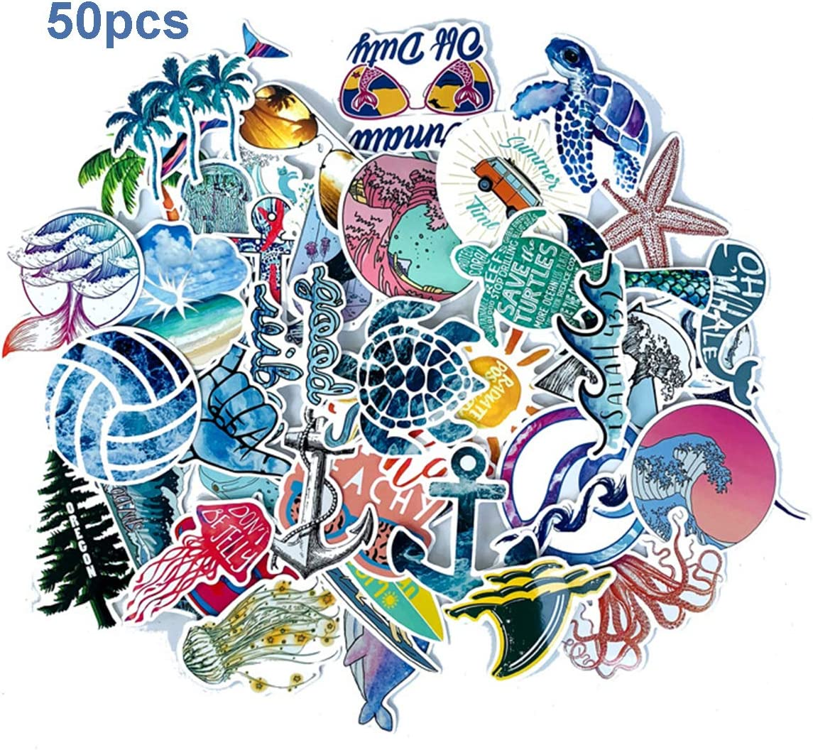Beach Stickers 50pcs Blue Surfing Waves Fresh Lively Turtle Laptop and Water Bottle Vinyl Decals Cartoon Vitality Aesthetic Sticker Pack for Teens, Girls, Vinyl Decals (Beach Wave)