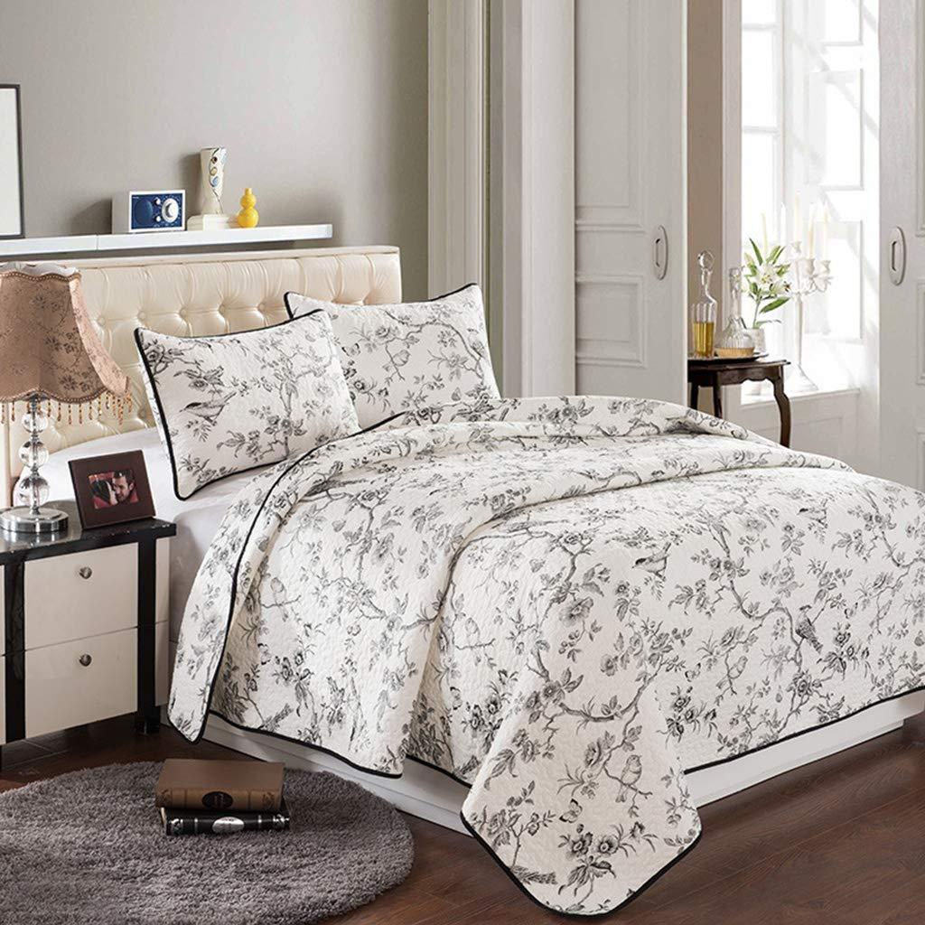 ヨーロッパのミニマリストのベッドカバーセット、キルトソファカバーブランケットに適した綿のベッドカバー3ピースキルティングウォッシュ90×98インチ B07TFT1927