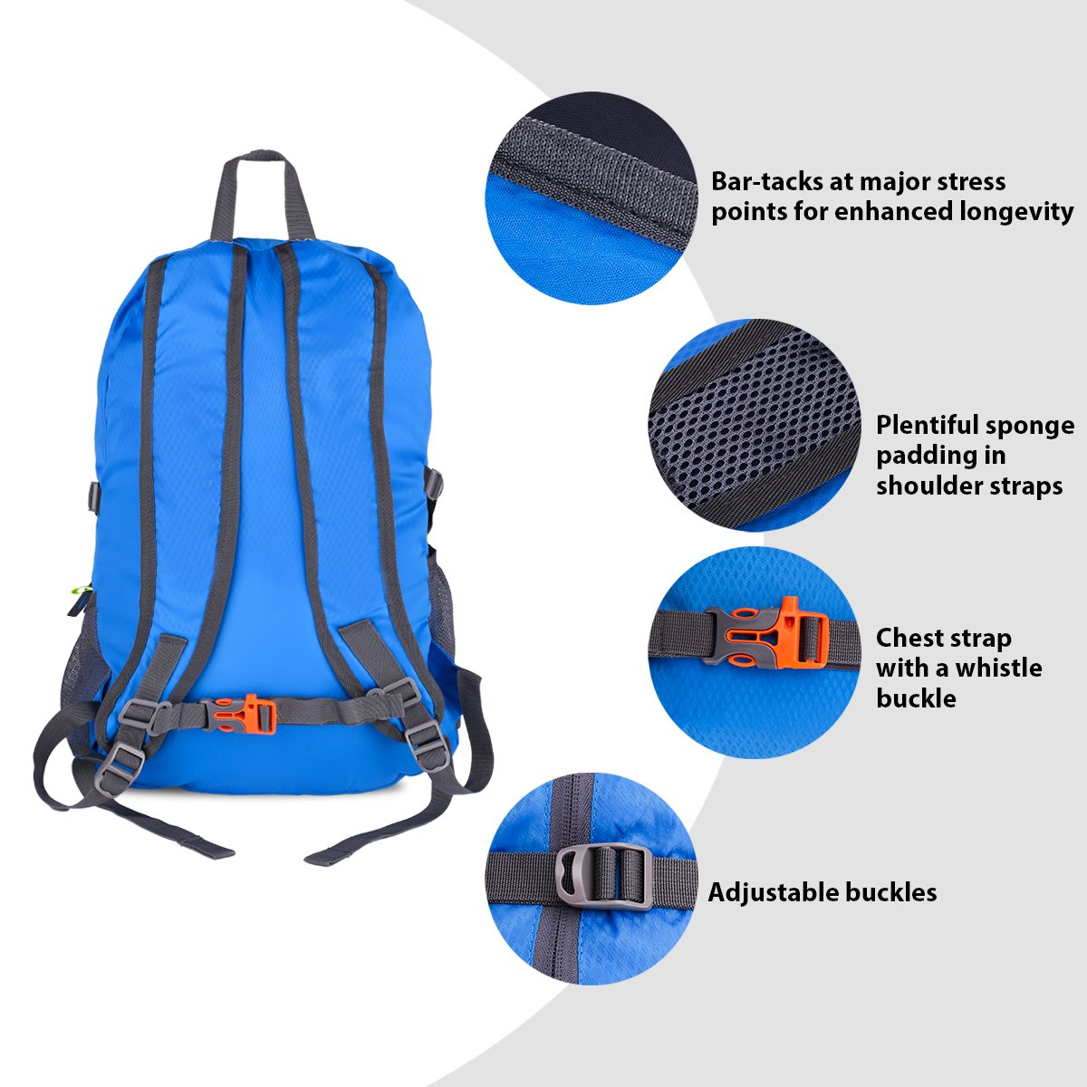 1dd7dd27c Giwil 30L Foldable Camping Backpack for Men Women and Teens Blue Lightweight  Packable Durable Travel Hiking Backpack Daypack ...