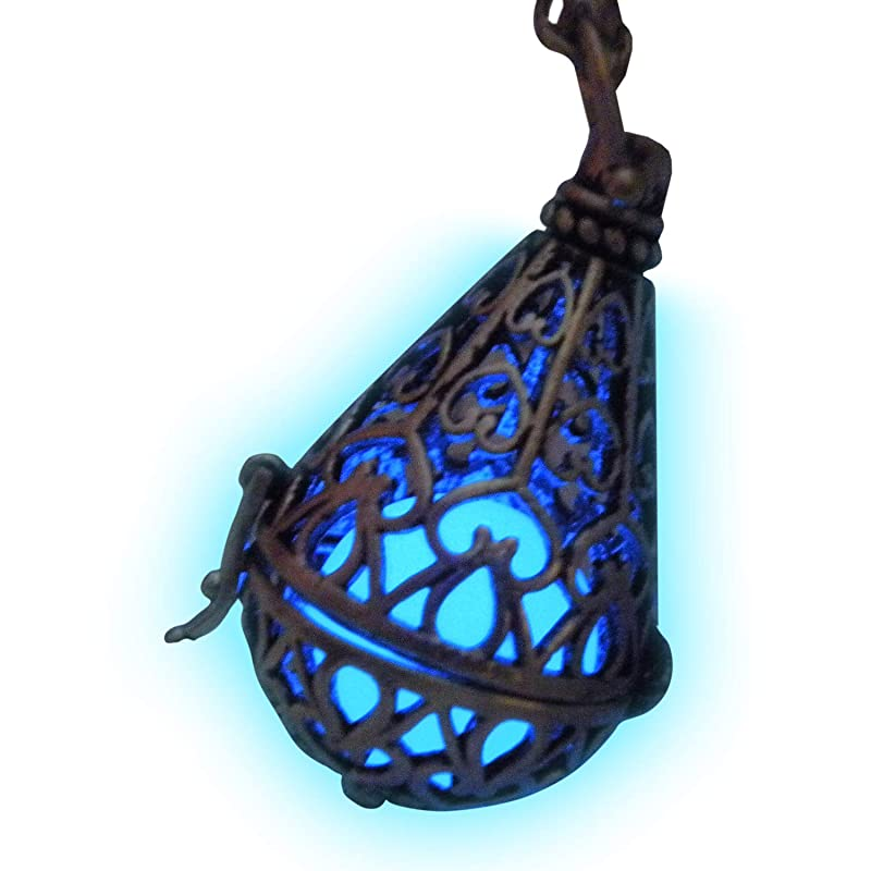 Glow In the Dark Celtic Cross Necklace Bright Green Glow Filigree Locket Illumination Locket