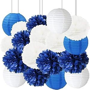Navy Bridal Shower Decorations Furuix 18pcs White Navy Blue Tissue Paper Pom Pom Paper Lanterns for Nautical Theme Party Decorations Navy Blue Wedding/Birthday Party Decorations Baby Shower Decoration