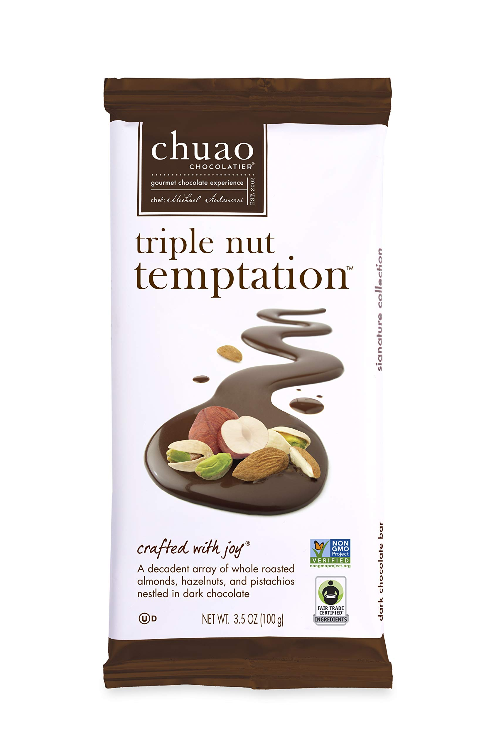 Chocolate Bars - Chuao Chocolatier Triple Nut Temptation Chocolate Bars 10pk (2.8 oz bars) - Best-Selling Chocolate Pack - Gourmet Artisan Dark Chocolate - Free of Artificial Flavors