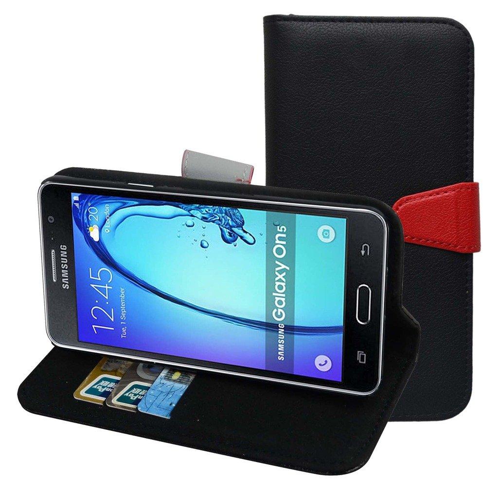 MAMA MOUTH Galaxy J3 Funda, PU Cuero Billetera Cartera Monedero con Soporte Funda Caso Case para Samsung Galaxy J3 J300,Negro