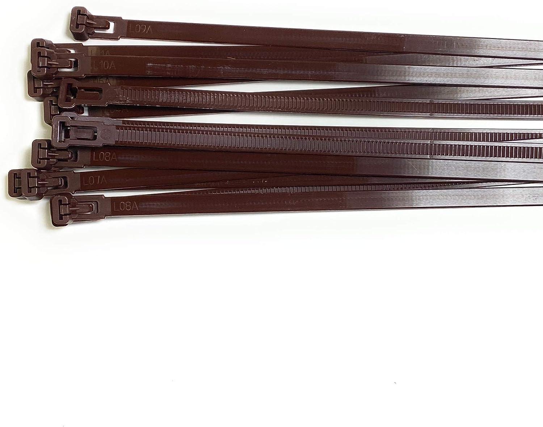 marr/ón reutilizables 50 unidades resistentes Bridas de pl/ástico para cables de alta calidad