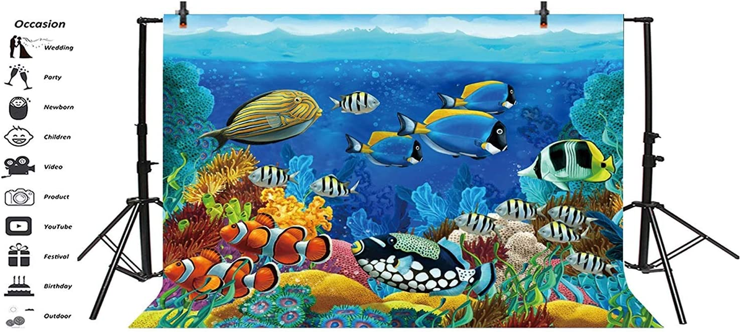 10x6.5ft Underwater World Polyester Photography Background Seabed Beautiful Fishes Corals Marine Theme Backdrop Child Kids Baby Birthday Party Banner Safari Party Ocean Wallpaper Studio
