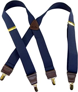 product image for Holdup USA made Deep Ocean Blue X-back Suspenders with Patented Gold-Tone No-slip Center pin Clips