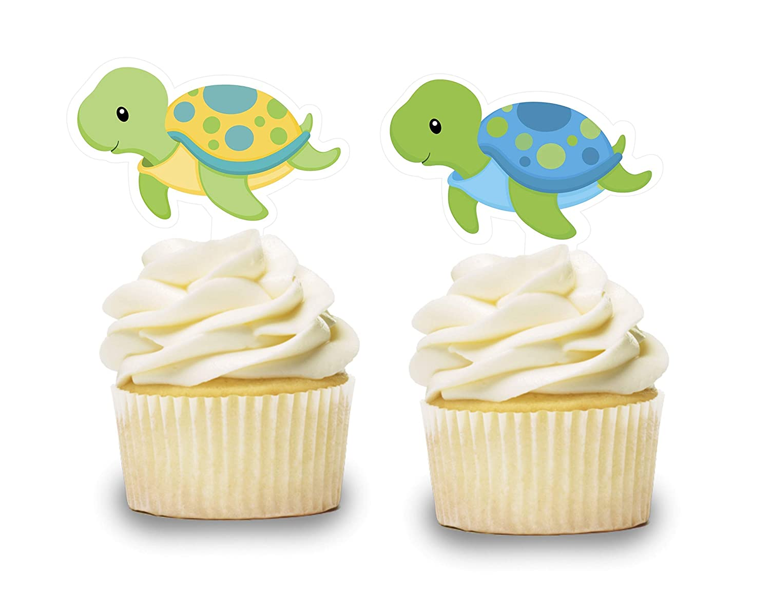 Cake Picks Baby Shower Animals Birthday Party Decorations Supplies Baby Turtle Cupcake Toppers 12 PCS Ocean Sea Themed