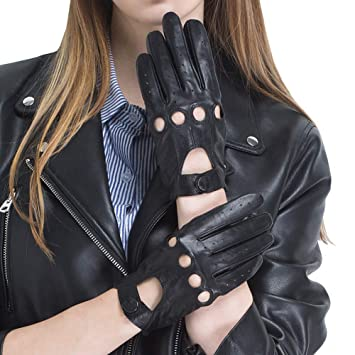 Nappaglo Womens Driving Leather Gloves Classic Lambskin Full-finger Motorcycle Open Back Unlined Gloves Touchscreen or Non-Touchscreen