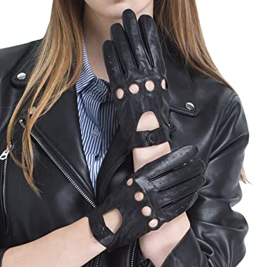 20175303d CHULRITA Touchscreen Women's Leather Driving Gloves Sheepskin Unlined  Motorsports Retro Full Finger Motorcycle Cycling Gloves (