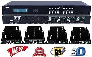 4x4 HDbaseT 4K HDMI Matrix Switcher w/ 4 PoC Receivers HDCP2.2 HDTV Routing Selector SPDIF Audio Control4 Savant Home Automation