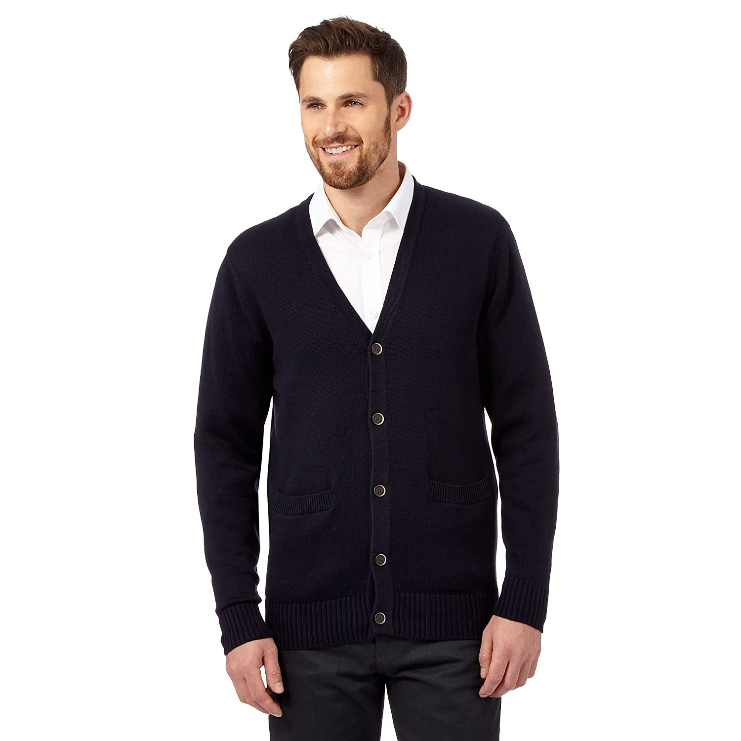 Maine New England Mens Big And Tall Navy Plain Knitted Cardigan