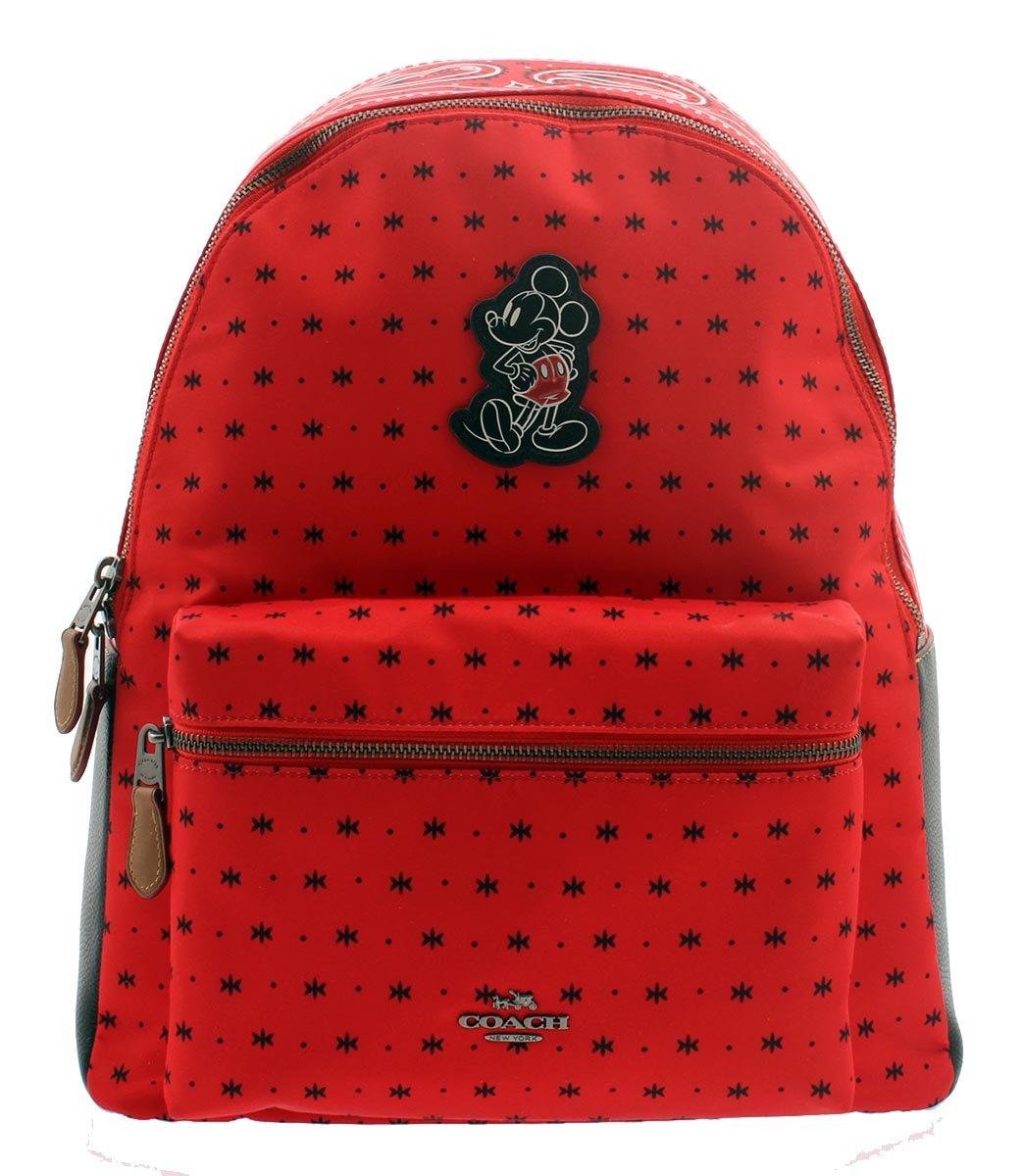 COACH MICKEY Charles Backpack in Prairie Bandana Print Bright Red