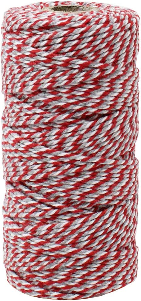 Just Artifacts ECO Bakers Twine 110-Yards 12Ply Striped Light Pink Decorative Bakers Twine for DIY Crafts and Gift Wrapping