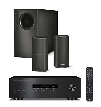 Bose Acoustimass 5 Series V Stereo Speaker System, Black, & Yamaha R-S202BL