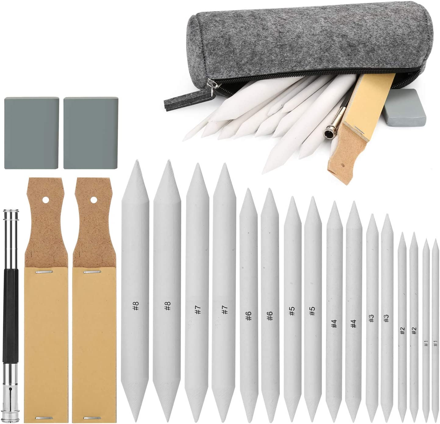 Sketch Drawing Tools, AGPTEK 16 Blending Stumps Set with 2 Sandpaper Pencil Sharpeners, 1 Pencil Extension Tool, 2 Erasers & 1 Felt Bag for Student Sketch Drawing Accessories