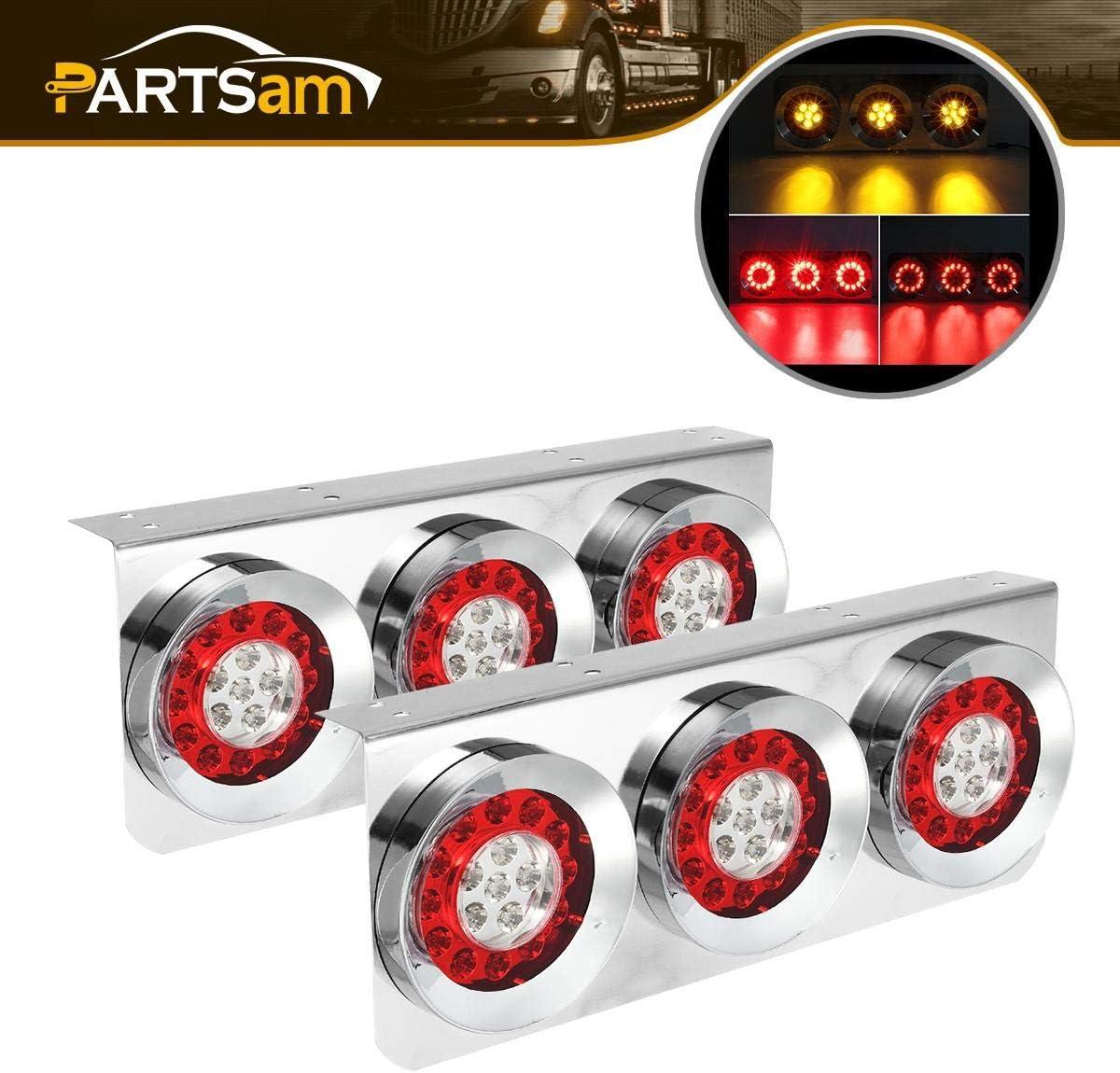 2 Red LED 19 Series Marker Lights w//Chrome Brackets