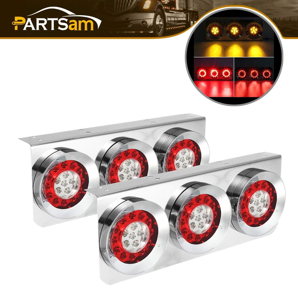 Partsam 2Pcs 54 LED Truck Trailer Tail Lights Bar with Chrome Iron Bracket Base Waterproof 24V 4 Inch Round Led Trailer Tail Lights Bar Stop Turn Signal Running Parking Lights Lamps RV Camper by Partsam