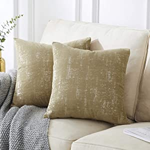 GIGIZAZA Velvet Decorative Throw Pillow Cover,18x18 Tan Silver Gold Print Throw Pillow Covers. Pack of 2